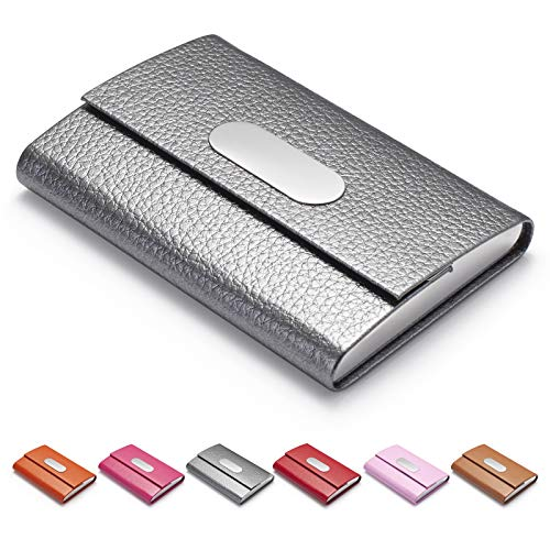 FACATH Business Card Holder for Women, PU Leather & Stainless Steel Business Name Card Holder Wallet Credit Card Metal Pocket Business Card Carrier with Magnetic Shut - Gray
