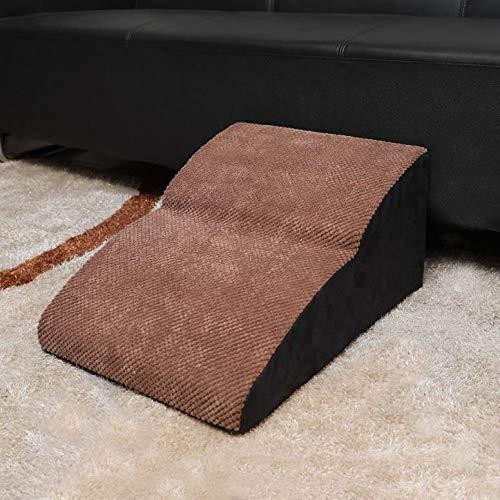 WXJ Barrier-free Dog Ramp Brown Pet Steps/Stairs High-density High-elastic Sponge-non-slip Bottom Design-PU/velvet Fabric By Best Pet Supplies