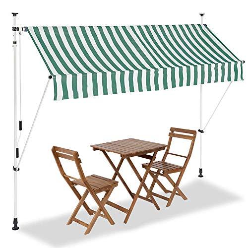 BAKAJI Tenda da Sole Balcone con Gambe di Supporto Regolabili Installazione ad Incastro Parasole Avvolgibile Esterno Giardino a Manovella Telaio in Alluminio Dimensione 250 x 185 cm (Verde Bianco)