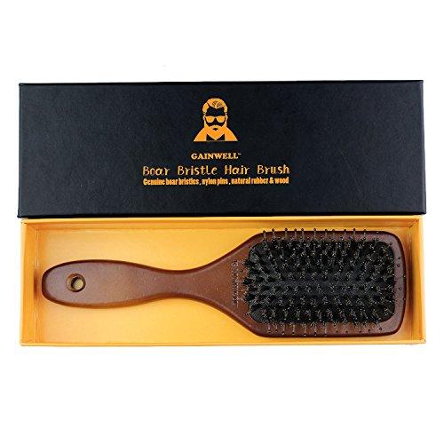 GAINWELL HAARBÜRSTE mit NATURBORSTEN, Bürste mit Holzgriff, pflegt Das Haar und massiert die Kopfhaut, Alle Haarlängen