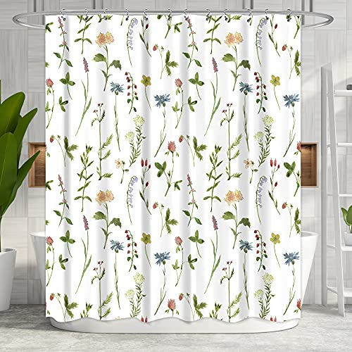 Riyidecor Fabric Floral Shower Curtain 72Wx72H Inch Botanical Plant Green Leaves Flower Watercolor Herbs Decor Bathroom Bathtub Accessories for Girl Women 12 Pack Plastic Shower Hooks Included RY-OISL