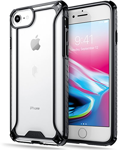 Poetic Affinity Series Designed for iPhone SE 2020 (2nd Gen), iPhone 8, iPhone 7 Case, Rugged Lightweight Military Grade Hybrid Protective Bumper Cover, Black/Clear