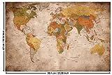 GREAT ART Poster - Mapa del Mundo - (59,4 x 42 cm) Decoración Mural Old School Vintage Mapa del Mundo Globo continentes Atlas Retro Mapa del Mundo geografía Apariencia Usado A2