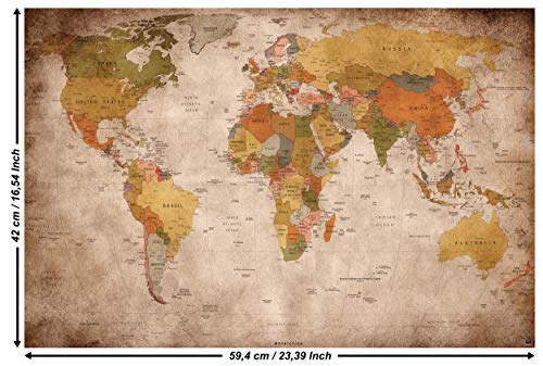 GREAT ART Poster – Weltkarte – (59,4 x 42 cm) Wandbild Dekoration Old School Vintage World-Map Globus Kontinente Atlas Retro-Weltkugel Geografie Used Look – DIN A2