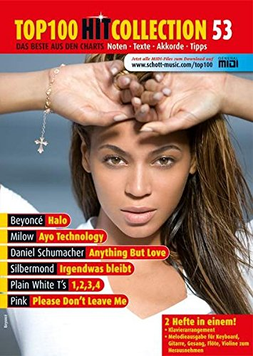 Top 100 Hit Collection 53: 6 Chart-Hits: Please Don't Leave Me - Ayo Technology - Halo - Anything But Love - 1,2,3,4 - Irgendwas bleibt.. Band 53. Klavier / Keyboard. (Music Factory)