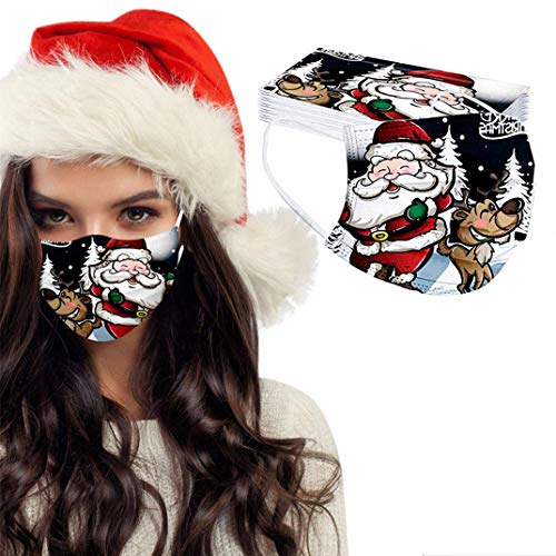 eiuEQIU 50 unidades de mascarilla para adultos con diseño de Navidad, multicolor, protección para la boca y la nariz, con dibujos animados, transpirable, pañuelo para la boca