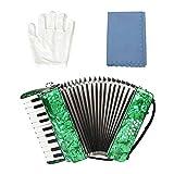 Boquite Fisarmonica Professionale, Strumento Musicale a Fisarmonica per Pianoforte a 8 Tasti a 22 Tasti per Studenti Principianti(Verde)