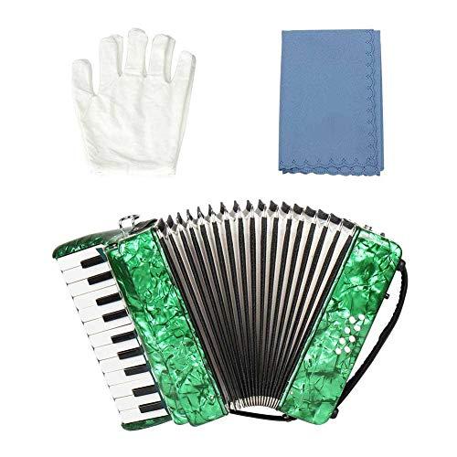 BoquiteCarnaval de San Valentín Acordeón Profesional, Instrumento Musical de acordeón de Piano bajo de 8 Teclas y 8 Teclas para Estudiantes Principiantes(Verde)