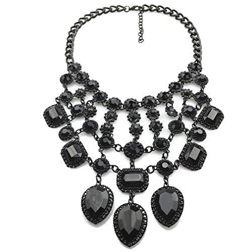 Yazilind Damen Glas Kristall Multilayer Hohl Charm Kragen Statement Lätzchen Halskette Schmuck Zubehör für Party Prom Schwarz