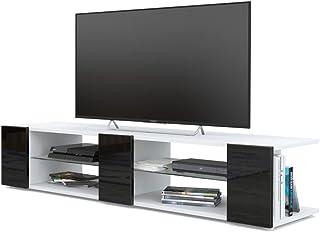 Mesa para TV Lowboard Movie V2 Cuerpo en Blanco Mate/Frentes en Negro de Alto Brillo