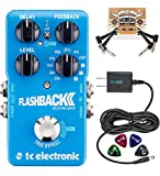 TC Electronic Flashback 2 Delay Pedal with TonePrint Bundle with Blucoil Power Supply Slim AC/DC Adapter for 9 Volt DC 670mA, 2-Pack of Pedal Patch Cables, and 4-Pack of Celluloid Guitar Picks