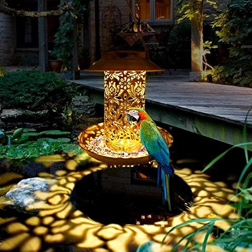 XLLQYY Linterna solar alimentador solar pájaro colgante bronce bandeja metal linterna solar jardín decoración árbol jardín jardín luz solar
