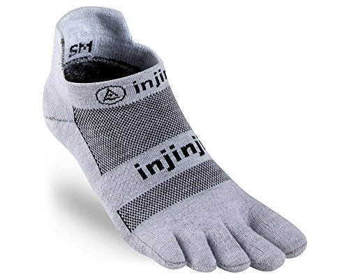 Injinji 2.0 Men's Run Lightweight No Show Toesocks, Gray, Large