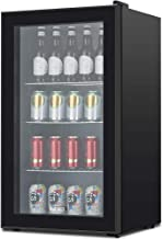 KUPPET 120-Can Beverage Cooler and Refrigerator, Small Mini Fridge for Home, Office or Bar with Glass Door and Adjustable Removable Shelves, Perfect for Soda Beer or Wine, Black, 3.1 Cu.Ft