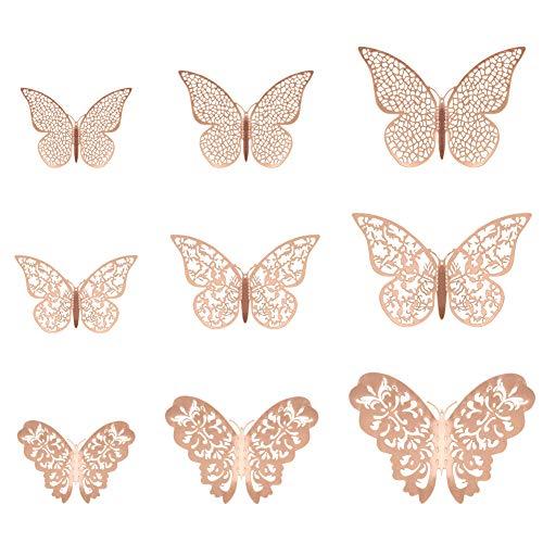 metagio 36 pièces Stickers Papillon Decoration Maison Murale Papillon 3D Papillon Stickers Muraux Rose Or Découpe Papillon Autocollants Décorations Murales pour La Maison, Fête
