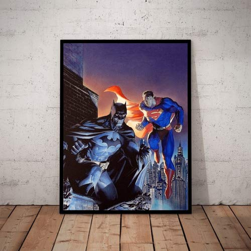Quadro Herois Superman Batman Arte Alex Ross Moldura 42x29cm
