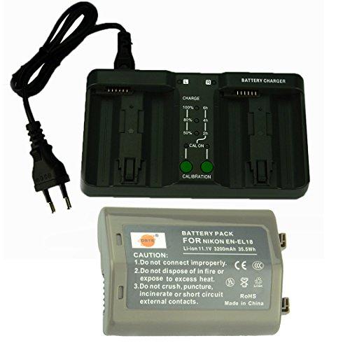 DSTE Repuesto Batería y DMH26A-3-in-einer Leistung Batterie Cargador para Nikon EN-EL18 D4 D4S D800 D800E