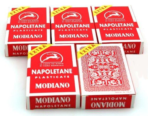 ludomax Fünferpaket Napoletane Spielkarten, SUPER von Modiano - Scopa / Briscola