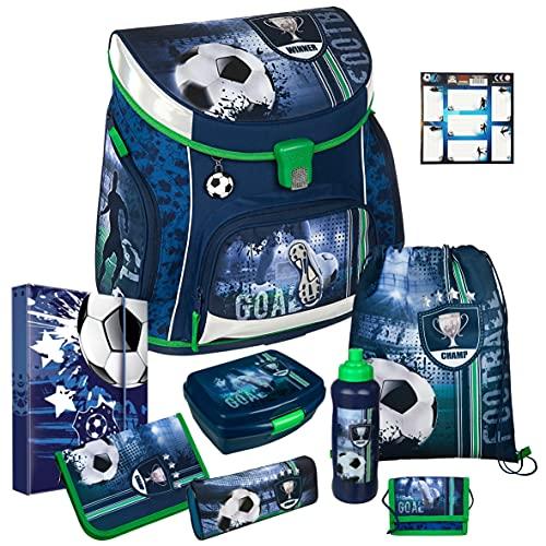 FOOTBALL CUP - Fußball - Scooli CAMPUS UP Schulranzen-Set 9tlg. mit BROTDOSE, TRINKFLASCHE und HEFTBOX A4 - BUCHETIKETTEN GRATIS DAZU