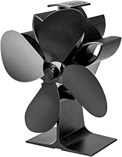Wodeni Heat Powered Stove Fan 4 Blades Fireplace Silent Portable for Wood Log Fire Burning