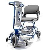 Tzora - Easy Travel Elite - Folding Lightweight Travel Scooter - 3-Wheel - Silver - PHILLIPS POWER PACKAGE TM - TO $500 VALUE
