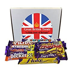 A 'Great British Treats' selection box of 10 of the top selling Cadbury British chocolate bars You will receive all the chocolate bars in the 'Great British Treats' presentation box as pictured - guaranteed. All chocolate bars are full size UK produc...