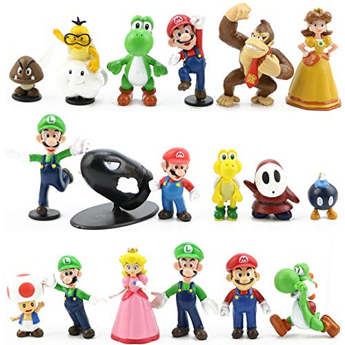 LoneFox Conjunto de 18 Personajes de Super Mario Bros Figura de acción Juguetes Modelo muñecas Decoraciones de Pastel