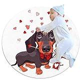 Tapis Rond Amour de chien Tapis éveil Jeu Bébé Rond Moquette Enfant Tapis Chambre Bebe Fille Garcon Cadeau 80x80cm