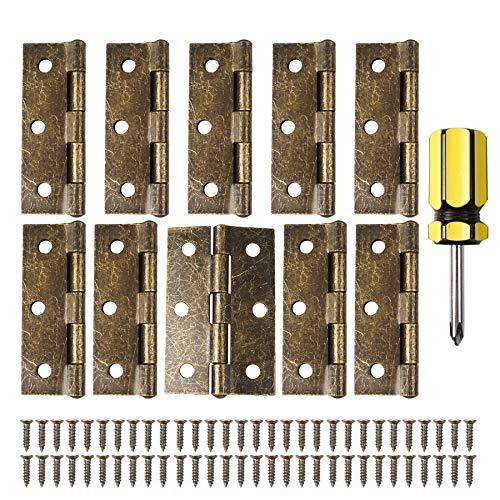 10 Bisagras de puerta retro de 75 mm de bronce con 60 tornillos de bisagra antiguos, Bisagras engrosadas plegables para muebles del hogar, Bisagras para puertas de madera Con destornillador