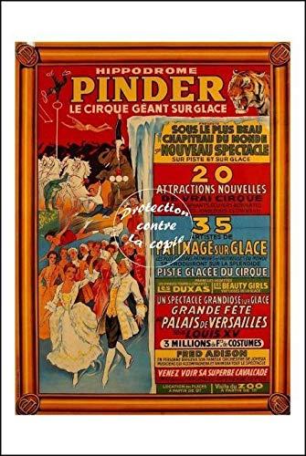Herbé ™ Poster 40x60cm* d1 Affiche Vintage/Ancienne Cirque PINDER sur Glace-Hipp