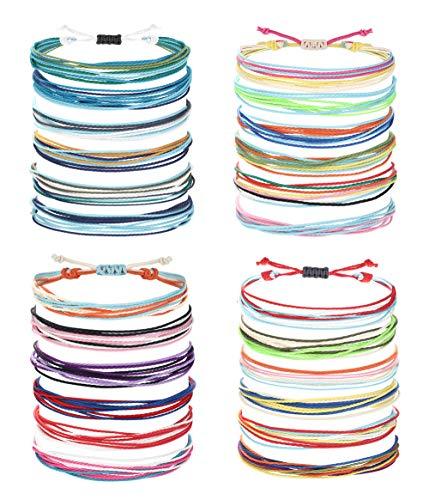 CASSIECA 24 Pcs VSCO Friendship Bracelets for Women Men Handmade Waterproof Coated Braided Rope Bracelet Set Adjustable Surfer Strand String Bracelets Bohemian Handcrafted Birthday Gift