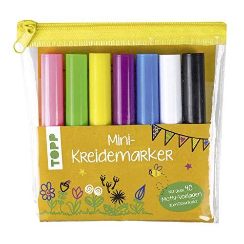 Mini-Kreidemarker Set in hellen Farben (gelb): 7 Mini-Kreidemarker im praktischen Etui mit über 40 Motiv-Vorlagen zum Download