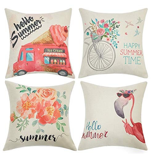 Anickal Summer Decorations Set of 4 Decorative Pillow Covers 18x18 Hello Summer Pink Ice Cream Truck Flamingo Flower Cotton Linen Pillow Cases for Summer Home Decor