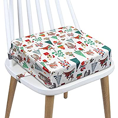 Toddler Booster Seat Dining, Washable 2 Straps Safety Buckle Kids Booster Seat for Dining Table, Portable Travel Increasing Cushion (Christmas-White) by CAVWVTYU