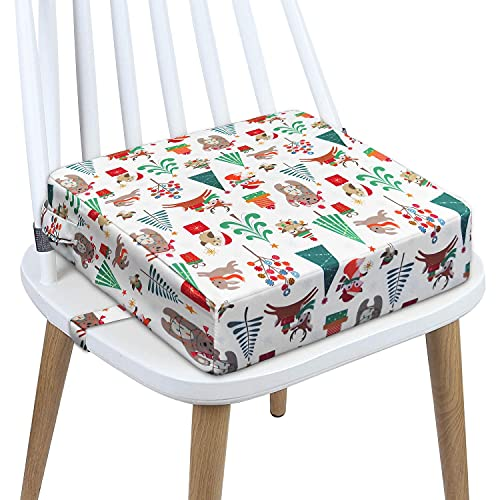 Toddler Booster Seat Dining, Washable 2 Straps Safety Buckle Kids Booster Seat for Dining Table, Portable Travel Increasing Cushion (Christmas-White)