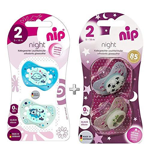 NIP Chupete de silicona Night, talla 2, 5-18 meses, juego de 4,...