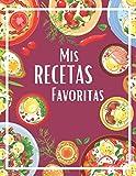 Mis recetas favoritas: Cuaderno de 100 recetas en blanco para anotar tus propios recetas y notas | 2 páginas por receta | Gran formato 21,6 x 27,9 cm | Tapa brillante | Morado | Idea de regalo