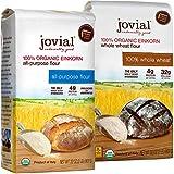 Jovial Einkorn Baking Flour Variety Pack | 100% Organic Einkorn All Purpose Flour & 100% Organic Whole Wheat Einkorn Flour | High Protein | USDA Certified Organic | Product of Italy | 32 oz (2 Pack)