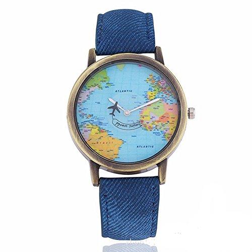 Fenkoo - Orologio da donna al quarzo, con cartina del mondo e lancetta a forma di aereo, Blu