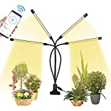 Pflanzenlampe LED, 4 Heads 80LEDs Pflanzenlicht Vollspektrum, 360° Wachsen licht LED Grow Lampe, 6 Lichtintensitäten Pflanzenleuchte Wachstumslampe mit Zeitschaltuhr, Bluetooth-Fernbedienung