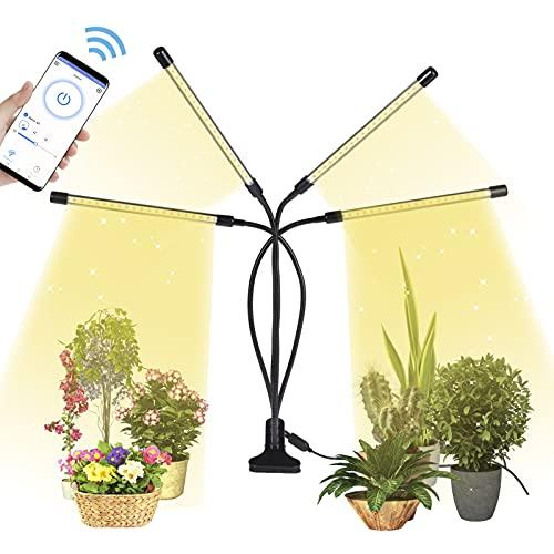 Pflanzenlampe LED,4 Heads 80LEDs Pflanzenlicht Vollspektrum,3 Beleuchtungsmodi Grow Lampe,Wachstumslampe mit Zeitschaltuhr für Zimmerpflanzen