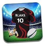 Dessous de verre personnalisable sur le thème du maillot de rugby - Cadeau d'anniversaire - Couleurs Saracens