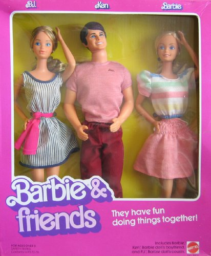 Vintage Barbie & Friends Doll Set w P.J., Ken & Barbie Dolls (1982 Mattel Hawthorne)