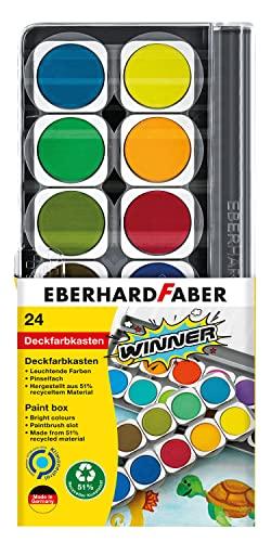 Eberhard Faber 578324 - Winner Deckfarbkasten mit 24 kräftigen Farben in austauschbaren Farbnäpfen, Deckweiß und Pinselfach, Deckel als Mischpalette nutzbar, für Schule, Freizeit und Hobby