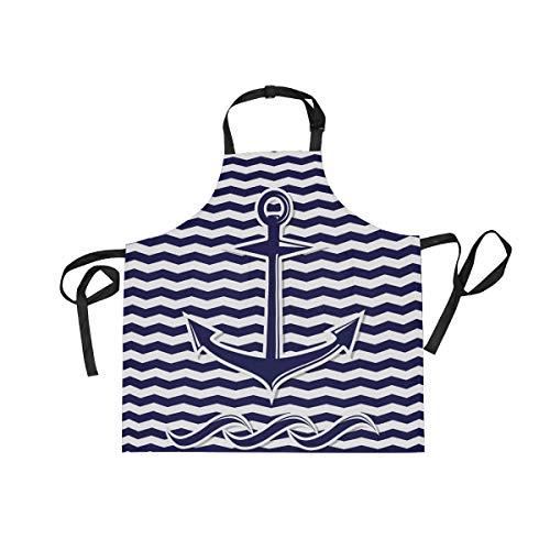 XiangHeFu Bib schorten met 2 Zakken Abstract Zee Ocean Wave Anker Symbool 27,5 x 29 Inch Verstelbare Nek Band voor Mannen Vrouwen Koken Koken Chef Keuken