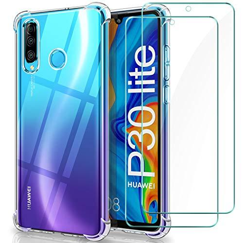 WINmall Coque pour Huawei P30 Lite + 2 films de protection en verre trempé, [Air Cushion] Antichoc Transparent Silicone TPU Coque pour Huawei P30 Lite
