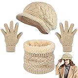 heekpek Invierno Gorras Bufanda y Guantes Mujer Moda Calentar Sombreros Gorras de Punto Forro de Lana Guantes Táctiles de Invierno Sombrero de Boina de Punto Bufanda Caliente Calentador (beige)