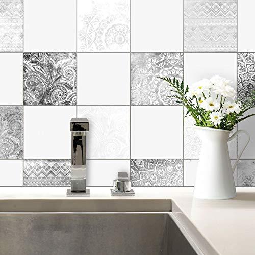Fliesenaufkleber Bohemian Fliesen Sticker Aufkleber selbstklebend Kacheln Bad Küche Wanddeko Ornament schwarz-weiß Wall-Art - 10x10 cm - 20-er Set