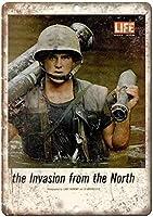ライフマガジンベトナム戦争侵略レトロな外観の金属看板