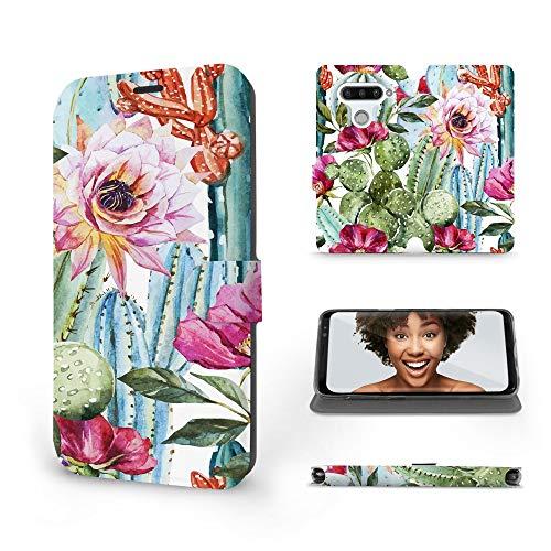 Mobiwear | Slim FLIP Hülle | Kompatibel mit LG V40 ThinQ, Made in EU handyhülle, Premium Schutzhülle, Transparent TPU Silicon, Book Style Hülle, Tasche - Kakteeblumen